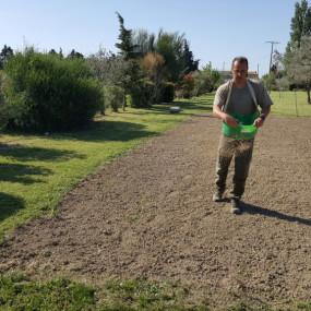 Pour des espaces plus grands le traditionnel semis de gazon à la volée est la solution incontestablement la plus économique ... bien que le résultat ne soit pas immédiat comme avec le gazon en rouleaux.